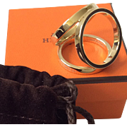 Hermes Trio Permabrass Scarf Ring with Hermes Suede Pouch and Box