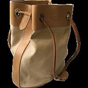 Tod's Tan Canvas and Saddle Leather Bucket Handbag