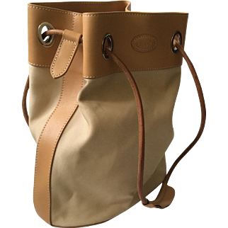 Tod's Tan Canvas and Saddle Leather Bucket Handbag