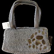 Pristine Bottega Veneta Gray Wool and Leather Bag, NEVER WORN