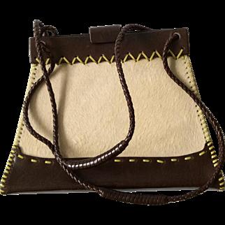 RARE Vintage Bottega Veneta Small Pony Hair and Leather Bag with Topstitching Detail