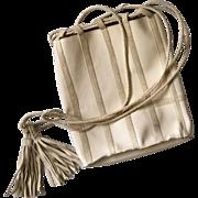 Bottega Veneta Cream Patent Leather Crossbody Bag with Suede Trim and Tassels