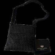 RARE Bottega Veneta Vintage Black Satin Intrecciato Dress Bag