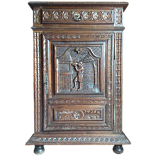 French Oak Carved Cabinet with Drawer, Keyed Door and 2 interior shelves