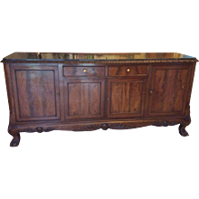 French Buffet Louis XV style with cabriolet legs and marble top