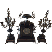 French Black Marble Mantle Clock with Candelabras