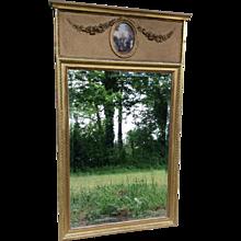 Trumeau Beveled Gilt Mirror with Print