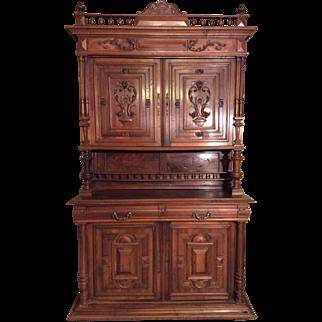 French walnut carved hutch Henri II style