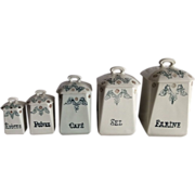French Pottery Canisters, set of 5