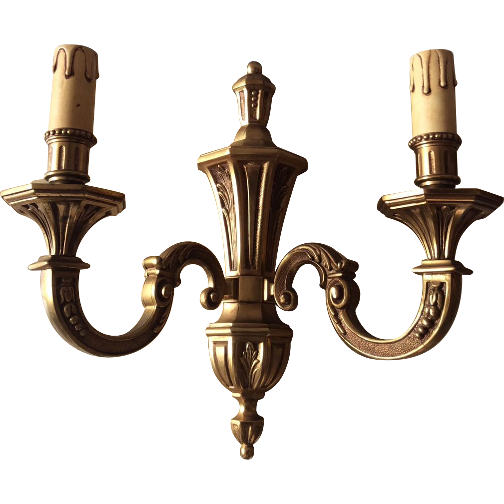 French Brass Wall Sconces : French bronze wall sconce Louis XVI style from luxuryfrenchcollection on Ruby Lane