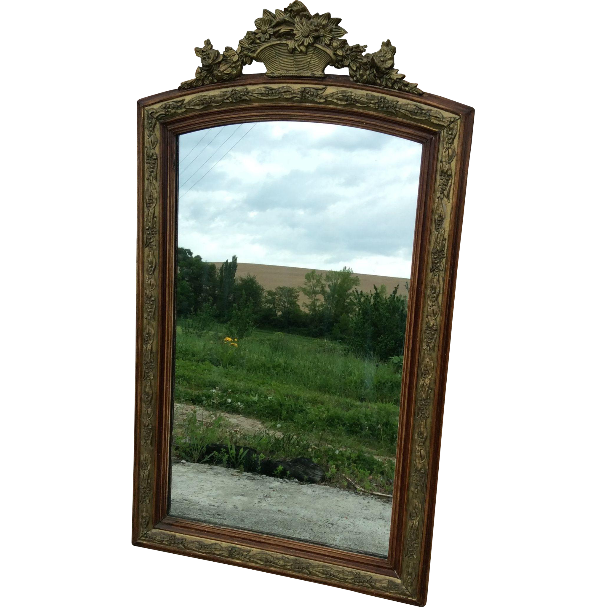 French mirror in wood and plaster with gold gilt from for French mirror