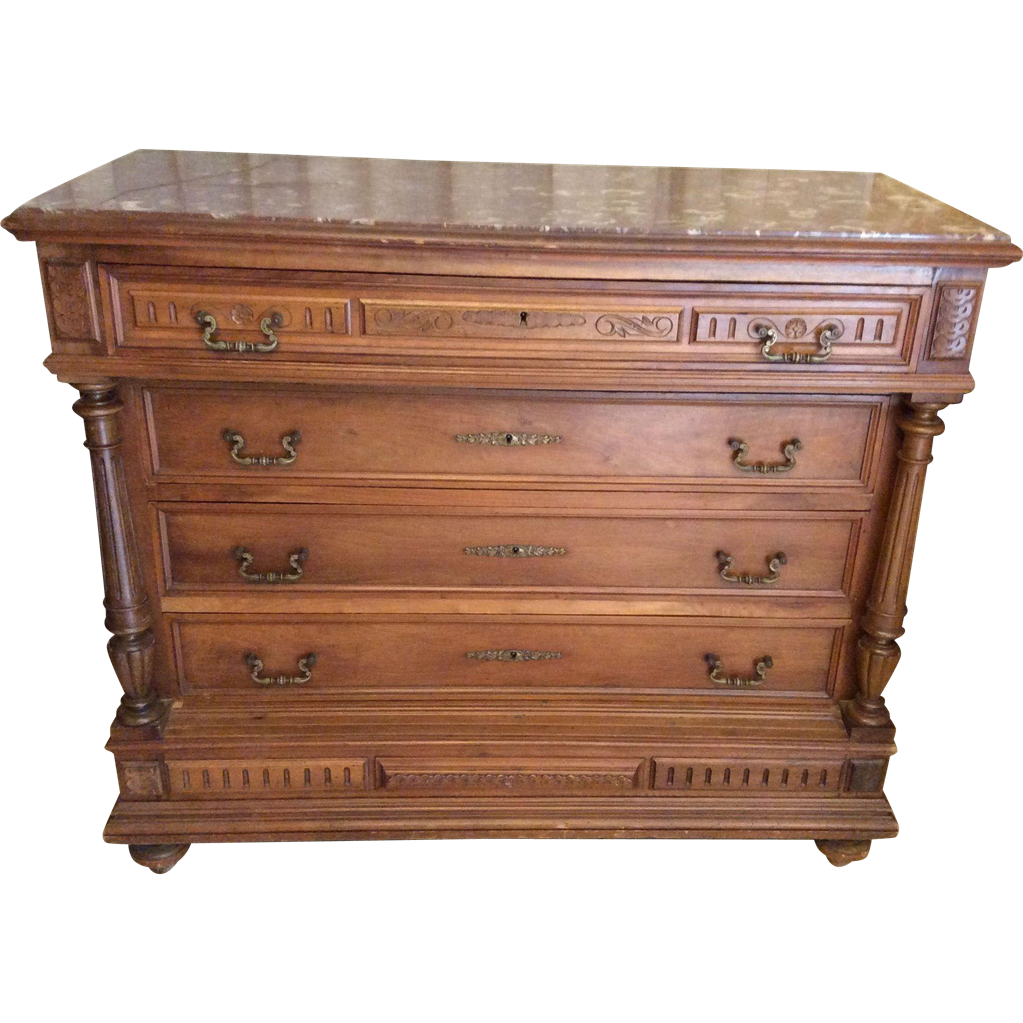 French walnut dresser henri ii style with red marble from for Table style henri 2