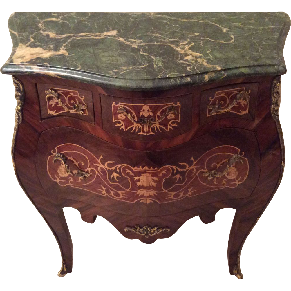 Favorite French Bombe Commode with Marquetry and Green Marble Top in Louis  WA83