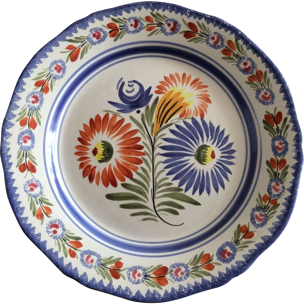 French decorative quimper plate sold on ruby lane for Deco quimper