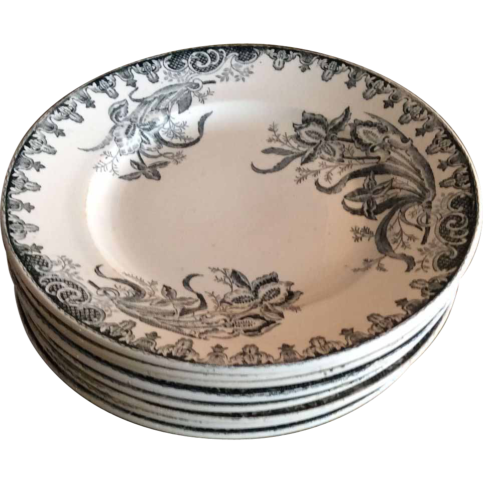 French Ironstone plates with Iris design, Set of 8