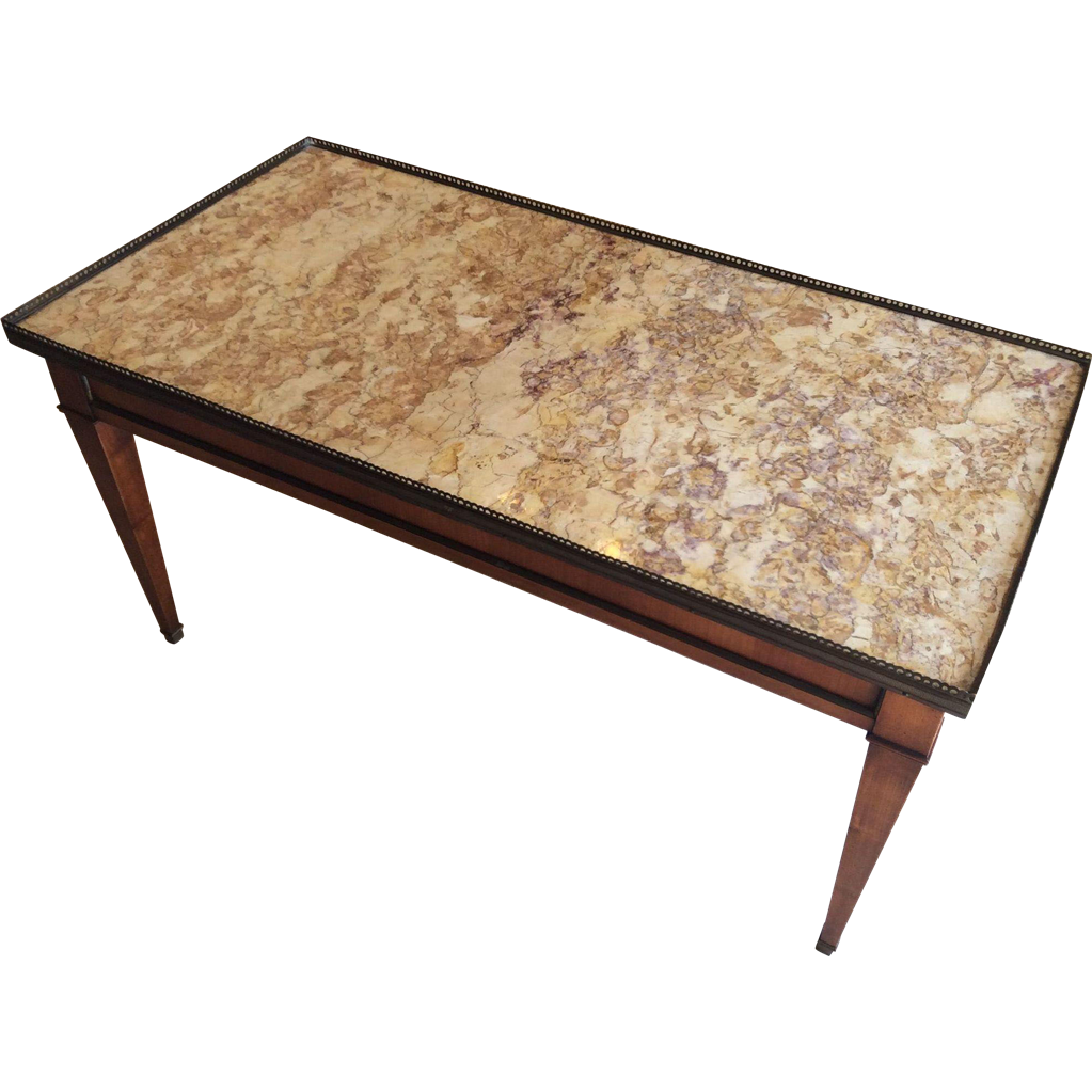 Coffee Table With Marble Top From Luxuryfrenchcollection On Ruby Lane