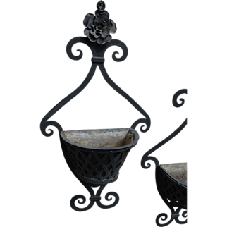 Fabulous Pair of French Wrought Iron Wall Planters