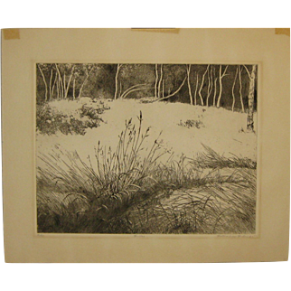 "Vintage 1965 BEATRICE BERLIN (1922-2010) ""Birches"" Winter Landscape Etching - Listed Artist"