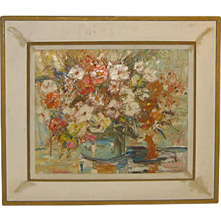 Vintage CHARLES GORDON MARSTON (1898-1980) 'Flowers Still Life Painting - Rockport Cape Ann