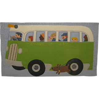 Original CLARE BEATON 'Wheels on the Bus' Sewn Felt ILLUSTRATION - Children's 'Playtime Rhymes' BOOK