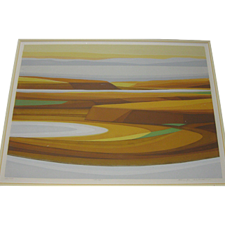 "KENSUKE WAKESHIMA ""Mesa"" signed limited edition ABSTRACT lithograph - Japanese American"