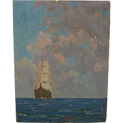Original HARRY HOFFMAN 'The Caribbean Sea' Sailboat Oil PAINTING Listed OLD LYME Artist