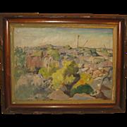 Original RICHARD BASSETT 'Quincy BOSTON Granite Quarry Landscape' Oil Painting