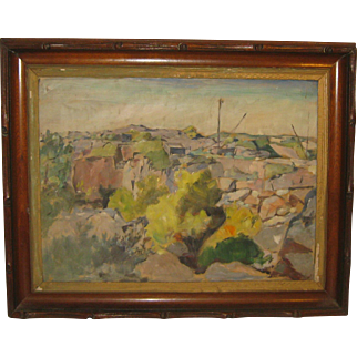 Original RICHARD BASSETT 'Quincy BOSTON Granite Quarry Landscape' Oil Painting