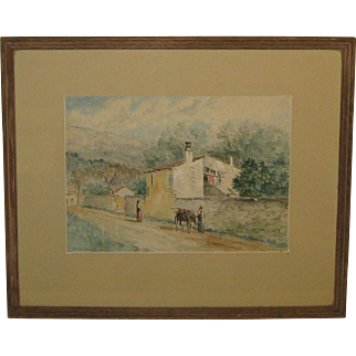 Antique FRANK SHAPLEIGH 'Italian Village Scene' Watercolor PAINTING - Listed NEW Hampshire - Florida Artist