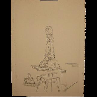 Rare Original 1964 ALBERTO GIACOMETTI 'L'Atelier a la Sellette' ETCHING - Limited Edition Ernest Beyeler