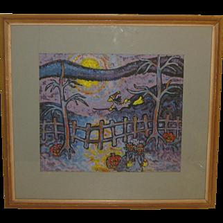 1959 WILLIAM ACCORSI 'Witch Trick or Treat Pumpkin Halloween Folk Art Painting