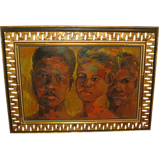 Vintage ERIC SMITH 'Heads in Red' JAMAICA Children PORTRAIT Oil Painting - Important Jamiacan Listed Artist