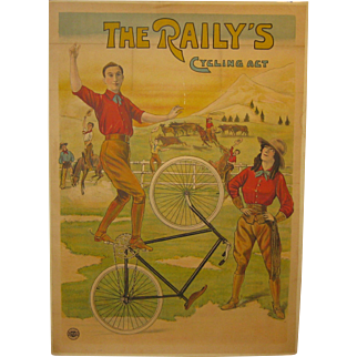 Rare Antique c1910 'THE RAILY'S CYCLING ACT' Bicycle Marci POSTER - English Western Bike Act Scene
