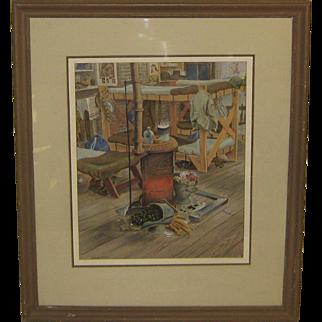 Vintage 1943 OHRVEL CARLSON 'WW 2 Army HQ Company Barracks' Painting - Listed