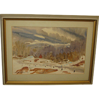 Vintage DAVID C BAKER 'Red Barn NEW HAMPSHIRE Winter Landscape Painting - Listed
