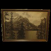 Original Harrison Crandall 'JENNY LAKE GRAND TETONS' Sepia photograph - Pencil signed