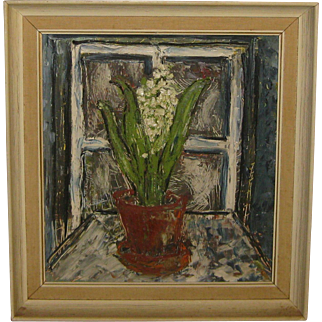 Vintage Flower Still Life in Window MODERNIST Painting AttrIbuted to NANNO DE GROOT - Provincetown Listed Artist