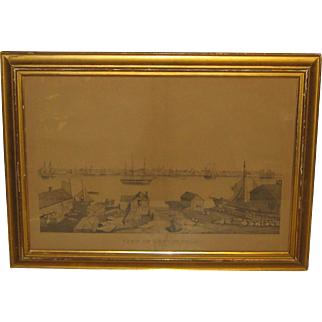 "Antique FITZ HUGH LANE ""View of Newburyport from SALISBURY' BIRDS EYE Lithograph - Important Early work!"