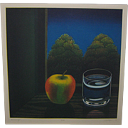 Vintage JOOP VEGTER 'Summer Night' Apple STILL LIFE Mezzotint Etching - LISTED