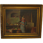 Antique 19th C 'FRUIT Seller APOTHECARY' American School Genre Oil PAINTING