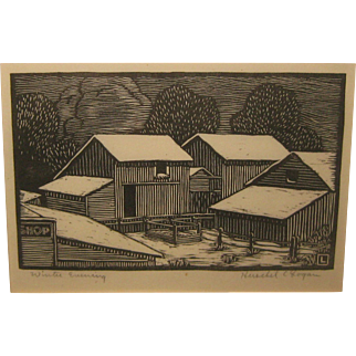 Vintage HERSCHEL LOGAN 'Winter Evening' Woodblock - KANSAS Prairie Print Maker