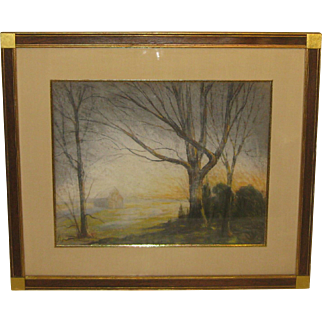 Vintage HAROLD SAXTON BURR Farmhouse at Dawn OLD LYME Landscape Pastel Painting
