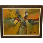 Vintage Guillermo Nunez (b1930) Abstract oil painting - Important Chile Artist