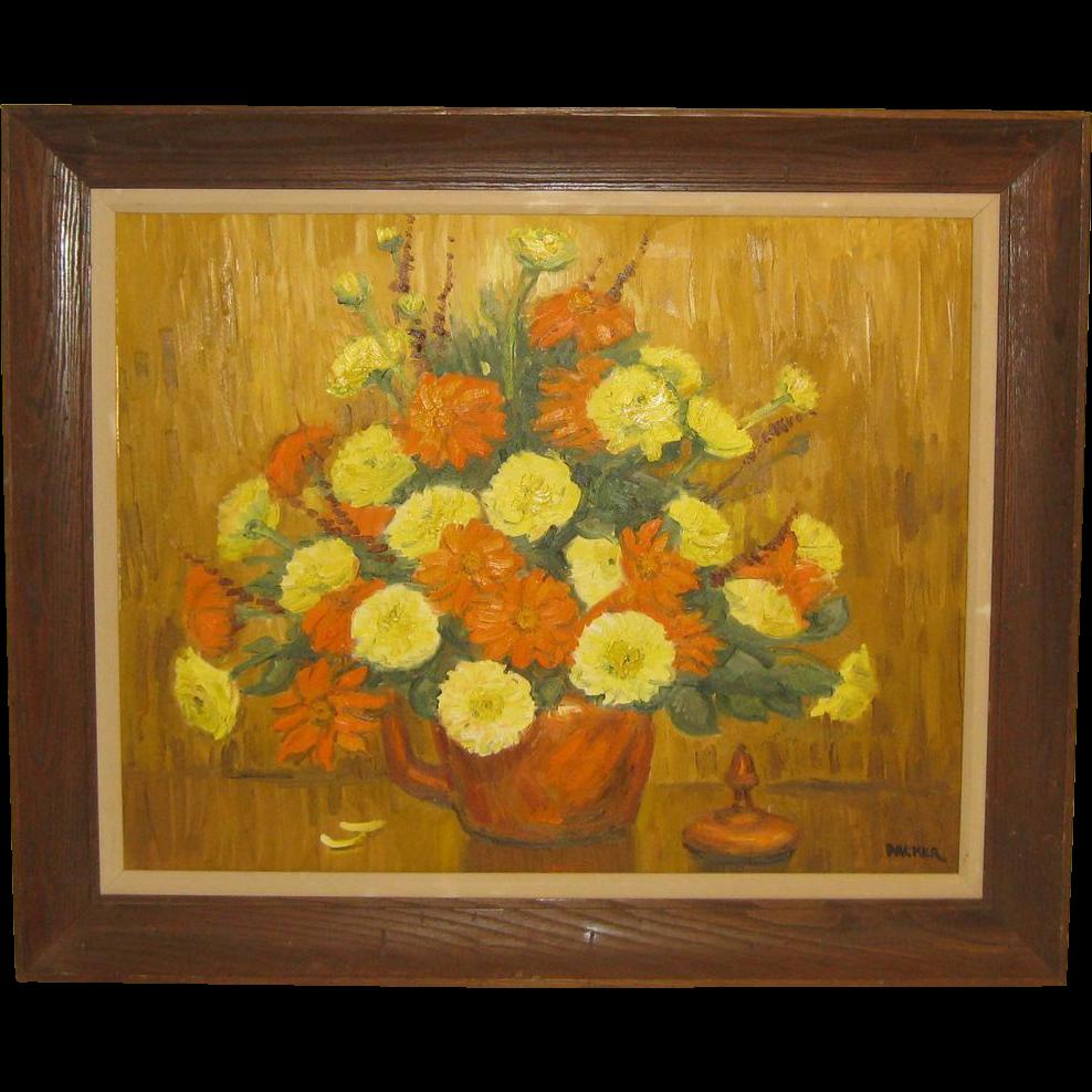 Vintage 1976 Richard Gordon Packer Fall Flowers Still