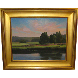 MIKEL WINTERMANTEL 'Evening Sky over Pond' Landscape PAINTING - Copley Master
