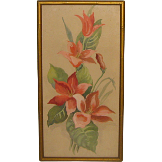 Vintage HEDWIG MASSIG Pink Tulips' Flower Painting -Listed CHICAGO Arts & Crafts