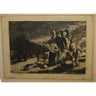 Vintage 1931 HARRY STERNBERG 'Principle #3 - DWARF SINGING' Etching w Aquatint