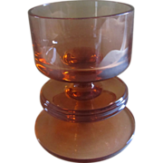 Wedgwood topaz (amber) glass one hoop Sheringham candlestick holder Design by Ronald Stennett-Willson 1960's