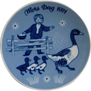 1971  Mors Dag Mother's Day Plate Second Issue Limited Edition Series.