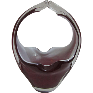 Tiffin Lead Art Glass Ruby basket Ashtray  with clear handle Heavy Cigar ashtray/Vase